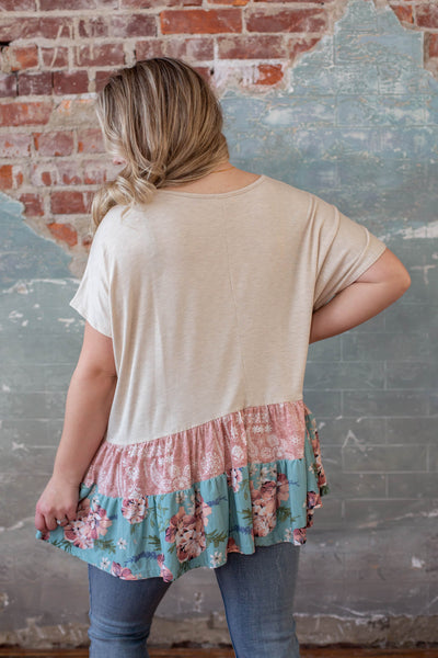 Oatmeal with Floral Flowy Top