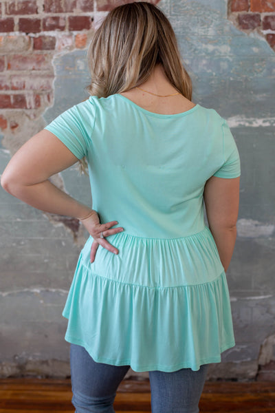 Sweet Mint V-neck Tiered Babydoll