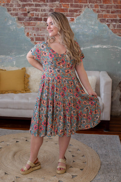 Hippy Floral Tiered Dress