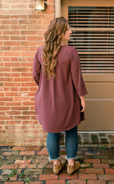 Purple Cardigan Button Dress