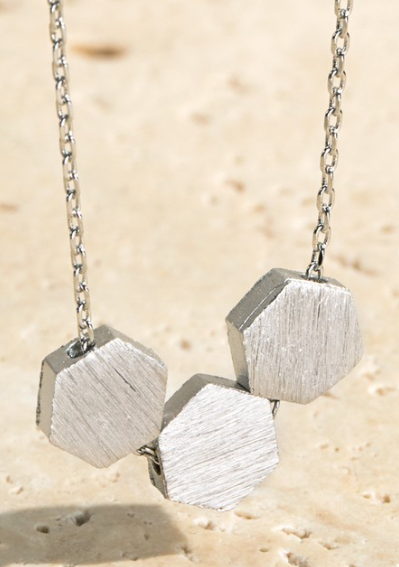 Simple Silver Three Hexagon Short Necklace