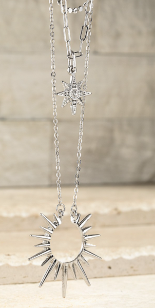 Silver Starburst Pendant Necklace and Earring Set
