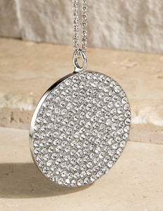 Silver Round Disc with Crystals Necklace