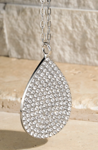 Glamorous Tear Drop with Crystals Necklace