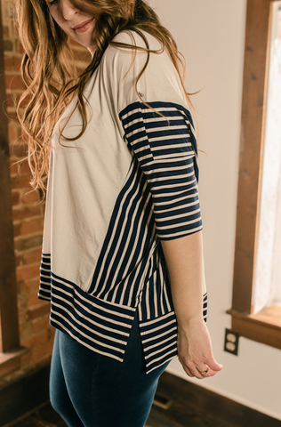 White & Blue stripes contrast top