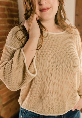 Long Sleeves light brown knit