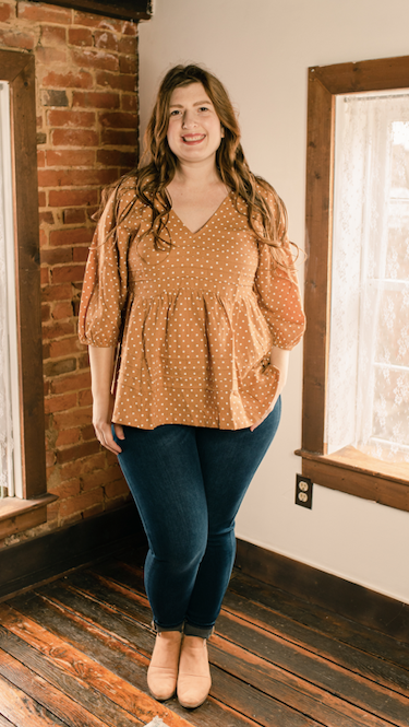 Polka Dots Orange V Neck