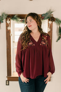 Maroon Floral embroidered
