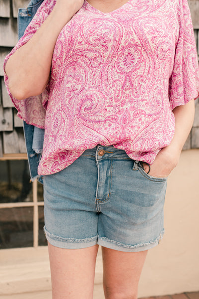 Magenta Paisley V-neck Top