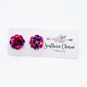 Party Splatter Roses Studs