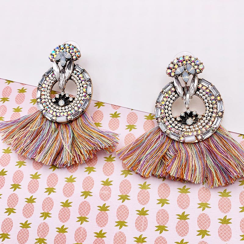 boucles-d-oreilles-fantaise-pompom-rose-multicolore-strass