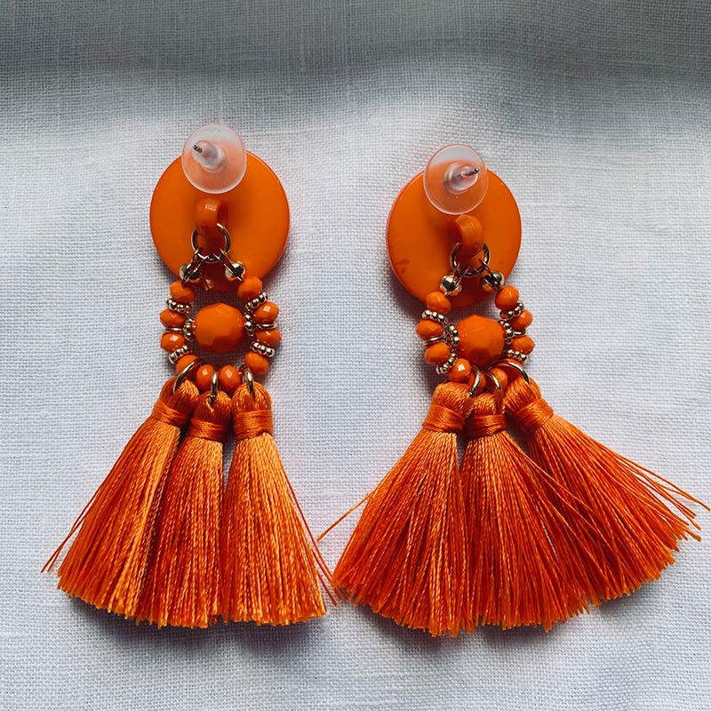 Boucles d'oreilles pendantes orange