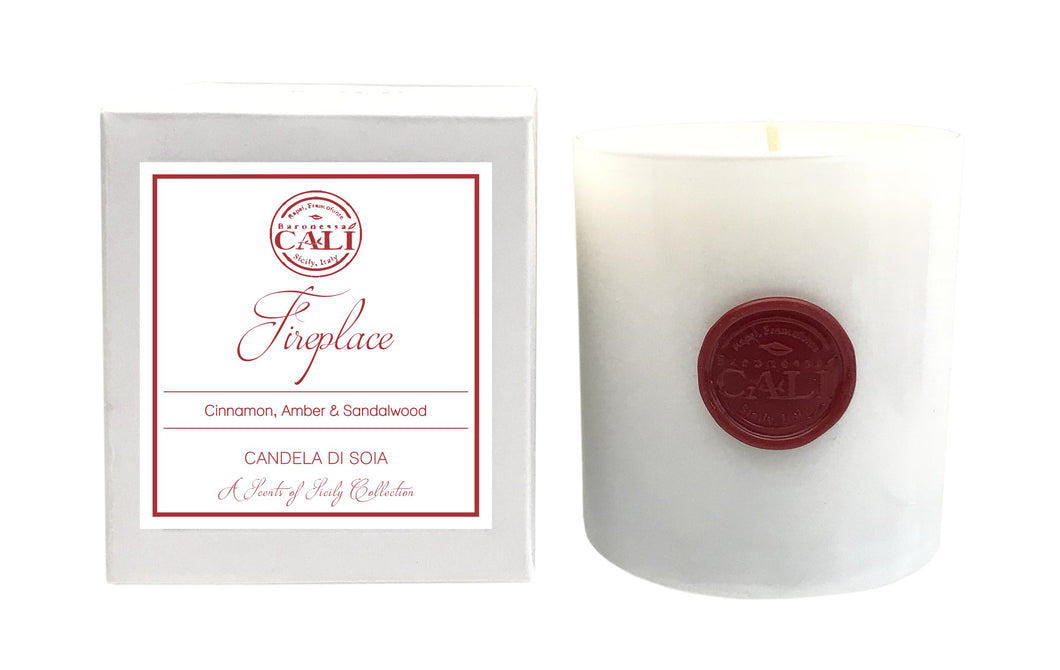 Fireplace - cinnamon and amber 9 oz Soy Candle - Scents of Sicily Collection - Fireplace - cinnamon and amber 9 oz Soy Candle - Scents of Sicily Collection