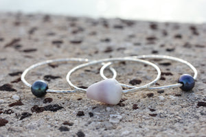 2mm Etched Sterling Silver Kahawai Pearl and Shell Bangles - Hawaiian Jewelry