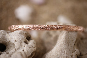 6mm 14k Rose Gold Hawaiian Heirloom Hibiscus Fancy Scroll Bracelet - Hawaiian Jewelry