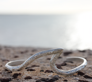 4mm Sterling Silver Curved Wave Bangle - Hawaiian Jewelry