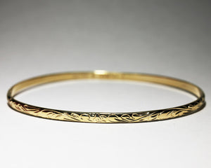4mm 14k Yellow Gold Hawaiian Heirloom Honu Scroll Bracelet - Hawaiian Jewelry