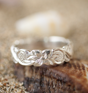 8mm Sterling Silver Hawaiian Heritage Scallop Edge Plumeria and Honu Fancy Scroll Ring - Hawaiian Jewelry