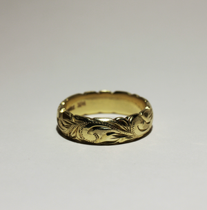6mm 14k Yellow Gold Hawaiian Heritage Traditional Barrel Ring - Hawaiian Jewelry