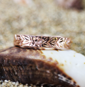 4mm 14k Rose Gold Personalized Hawaiian Heirloom Maile Flower Ring - Hawaiian Jewelry