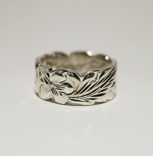 8mm Sterling Silver Hawaiian Heritage Scallop Edge Plumeria Curved Maile Ring - Hawaiian Jewelry
