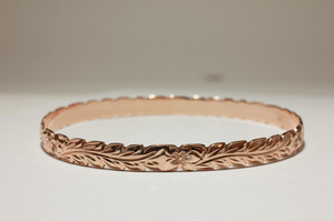 6mm 14k Rose Gold Hawaiian Heirloom Scallop Edge Hibiscus Curved Maile Bracelet - Hawaiian Jewelry