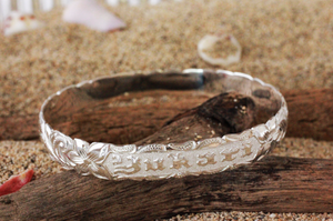 10mm Sterling Silver Scallop Edge Personalized Raised Letter Hawaiian Heirloom Bangle - Hawaiian Jewelry