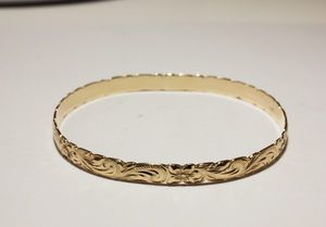 8mm 14k Yellow Gold Hawaiian Heirloom Fancy Scroll Bracelet - Hawaiian Jewelry