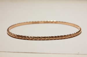 3mm 14k Rose Gold Scallop Edge Maile Cutout Bracelet - Hawaiian Jewelry