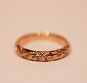 3mm 14k Rose Gold Hibiscus Hiltage Barrel Ring - Hawaiian Jewelry