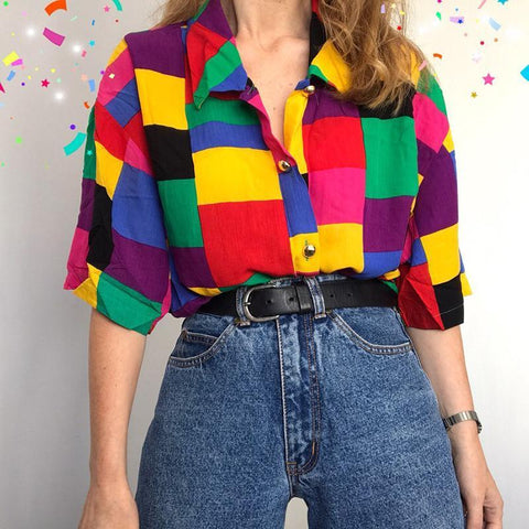 90S AESTHETIC RAINBOW PLUS SIZE BLOUSE