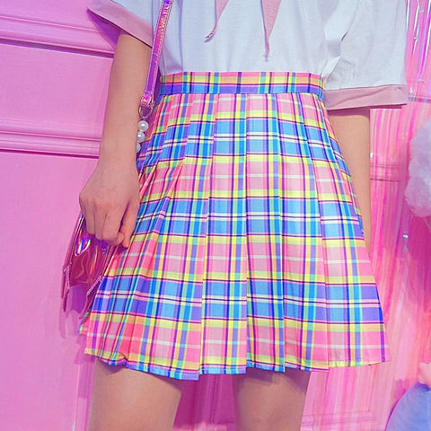PLAID PLEATED HIGH WAIST CASUAL RAINBOW MIDI SKIRT