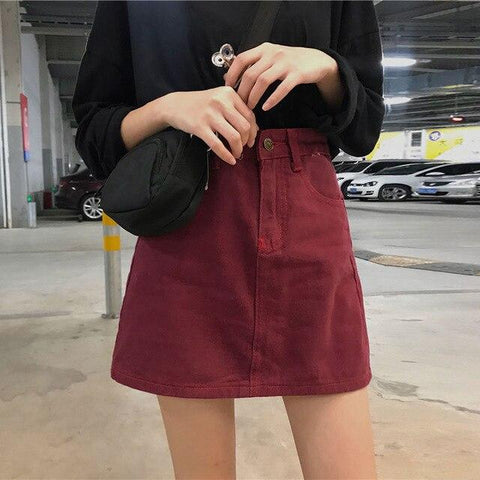 VINTAGE BURGUNDY MINI DENIM SKIRT