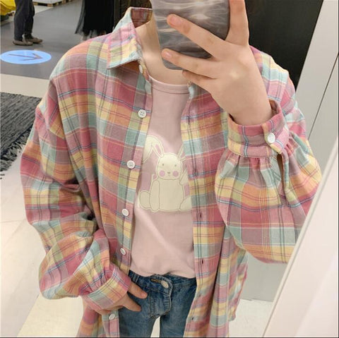 AESTHETIC CUTE PINK RAINBOW SHIRT