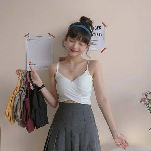 AESTHETIC SOFT GIRL SEXY STRAP CROP TOP