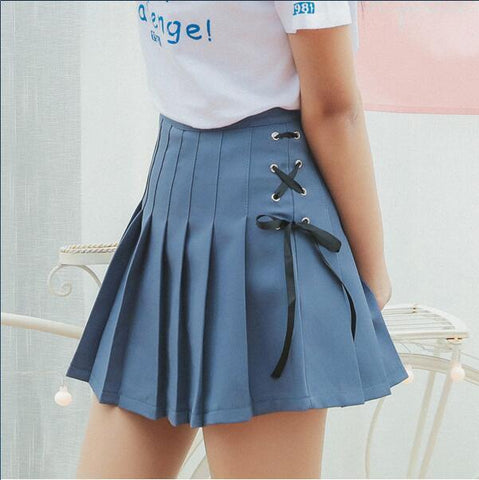 AESTHETIC VINTAGE PLEATED BOW TIE MINI SKIRT