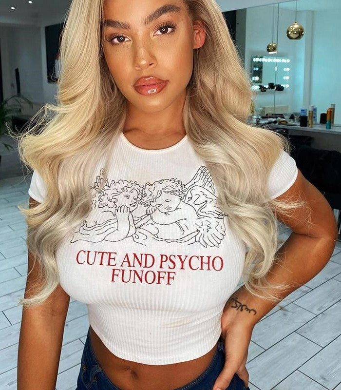 Cute And Psycho Funoff Crop Top – Cosmique Studio Aesthetic Outfits