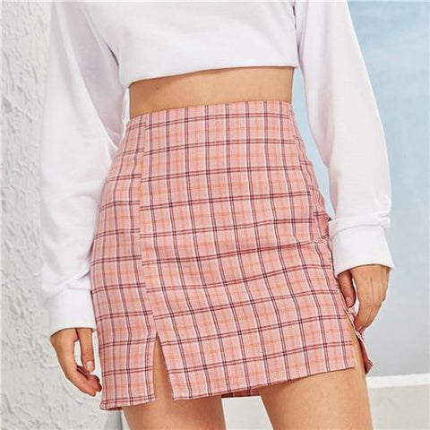 CUTE PLAID SIDE SLIT MINI SKIRT