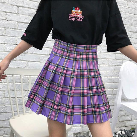 HARAJUKU PURPLE PLAID HIGH WAIST PLEATED SKIRT