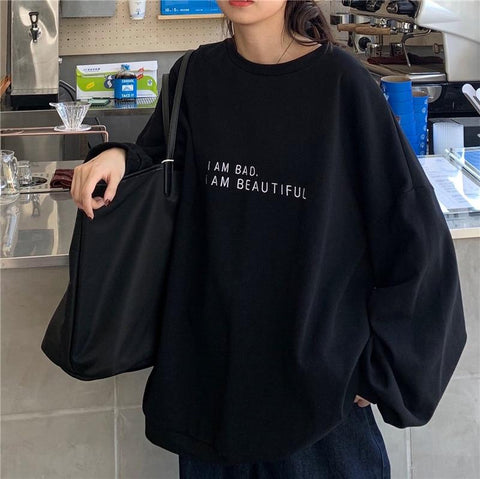 I AM BAD I AM BEAUTIFUL SWEATSHIRT - Cosmique Studio - Aesthetic Clothing