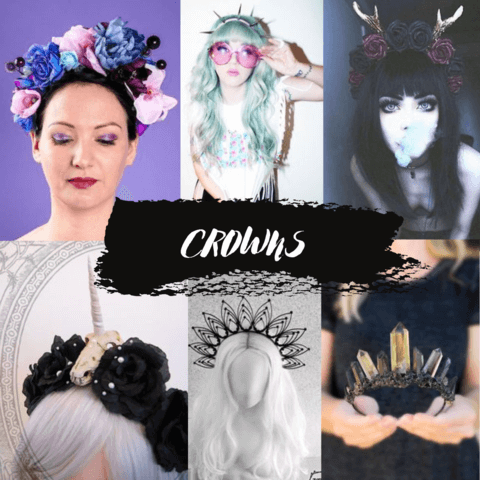 pastel goth hair accessories crowns - cosmiquestudio - aesthetic fashion