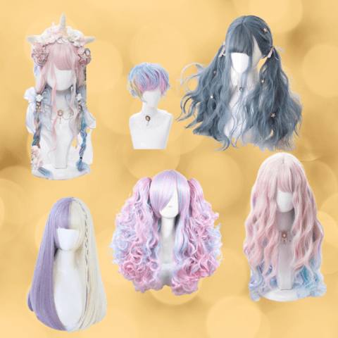 pastel goth hairstyle wigs - cosmiquestudio - aesthetic clothing store