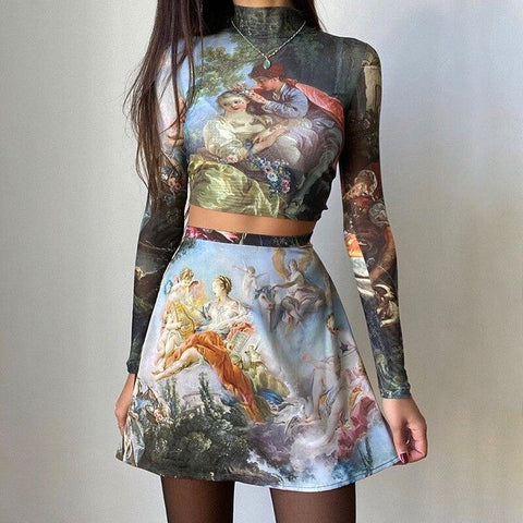 RETRO ANGEL PAINTING TEE AND SKIRT - TWO PIECE SET