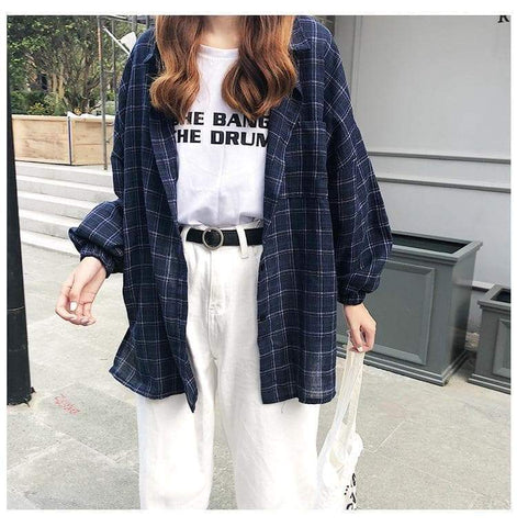 RETRO PLAID SHIRT - Cosmique Studio - Aesthetic Clothing