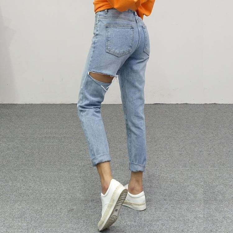 Ripped Denim High Waist Jeans - Cosmique Studio Aesthetic Clothing