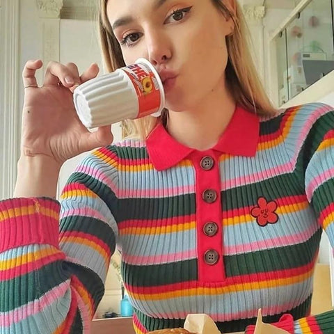 SOFT AESTHETIC GIRL STRIPED SWEATER