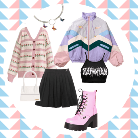 pastel goth style outfit ideas - cosmiquestudio - aesthetic fashion