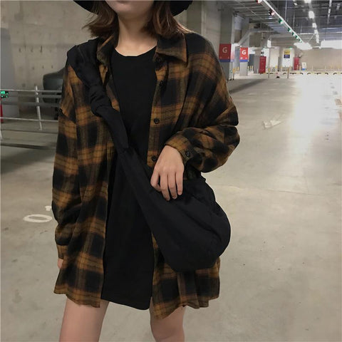 VINTAGE AESTHETIC CHIC PLAID LOOSE SHIRT - Cosmique Studio - Aesthetic Clothing