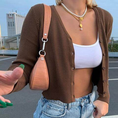 VSCO AESTHETIC BROWN KNITTED CROP TOP - cosmiquestudio - aesthetic fashion