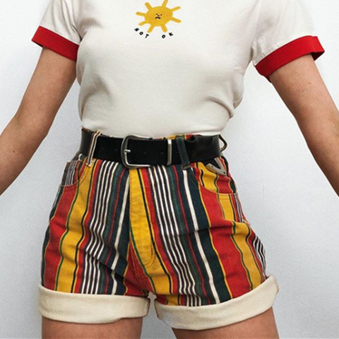 80S AESTHETIC VINTAGE STYLISH COLORED SHORTS-Cosmique Studio-Aesthetic Clothing Store